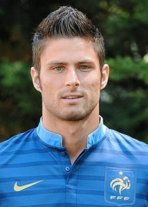 France's forward Olivier Giroud poses on